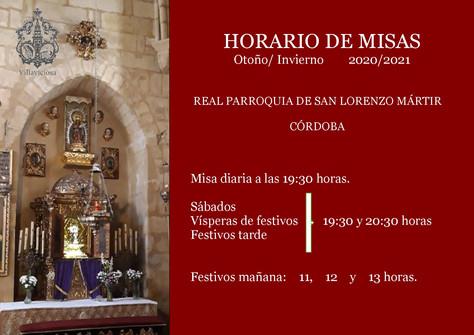 Nuevo Horario de Misas