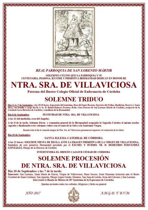 Solemnes Cultos en honor a Ntra. Sra. de Villaviciosa