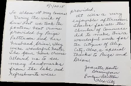 Letter to Lake Martin Realtor