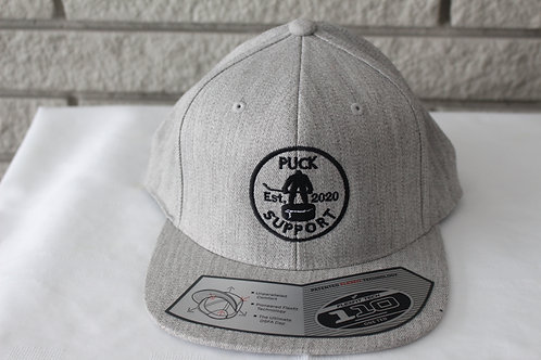 Light Grey Puck Support Flat Brim Snap Back