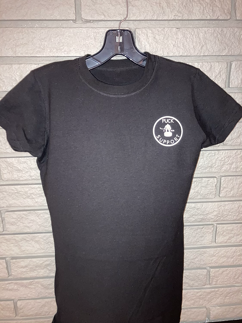 Ladies Puck Support T Shirt - Small Logo with Its Okay On The Back