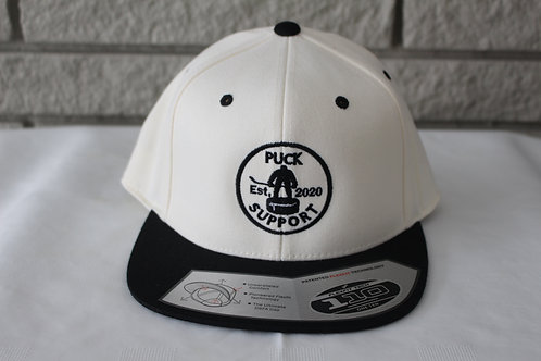 Black and White Puck Support Flat Brim Snap Back