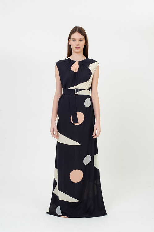 SLEEVELESS DRESS PATTERN BLACK BUBBLES