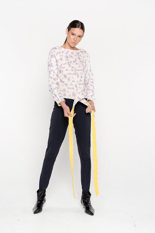 long sleeve print blouse