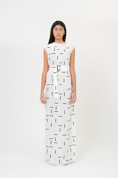 SLEEVELESS DRESS PATTERN WHITE TILES