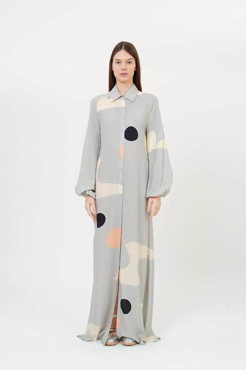 DRESS PATTERN GREY BUBLLES