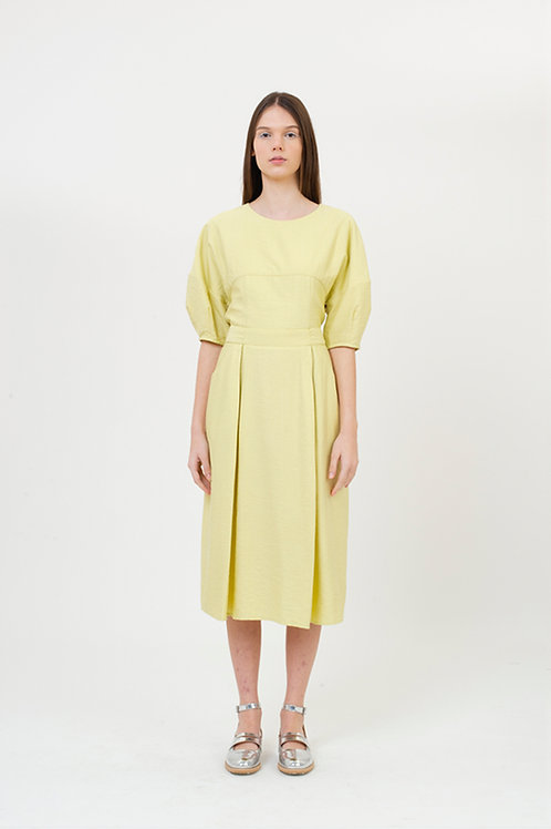ARCH SLEEVES DRESS PATTERN YELLOW