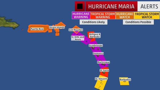 Hurricane Maria Takes Aim at Puerto Rico, Virgin Islands