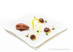Sorbet chocolat, Plat gastronomique, recette étoilée, haute gastronomie, plat de chef, Pierre Meneau
