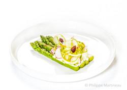Asperges, Plat gastronomique, recette étoilée, haute gastronomie, plat de chef, Pierre Meneau