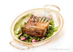 Carré d'agneau, Plat gastronomique, recette étoilée, haute gastronomie, plat de chef, Pierre Meneau
