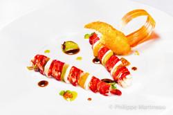 Plat gastronomique, recette étoilée, haute gastronomie, plat de chef, dressage de plat