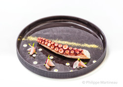Poulpe, Plat gastronomique, recette étoilée, haute gastronomie, plat de chef, Pierre Meneau