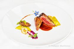 Plat gastronomique, recette étoilée, haute gastronomie, plat de chef