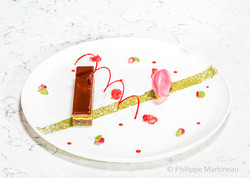 Dessert, Plat gastronomique, recette étoilée, haute gastronomie, plat de chef, Pierre Meneau