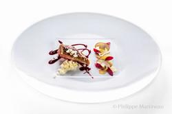 Plat gastronomique, recette étoilée, haute gastronomie, plat de chef, dressage de plat, Massimo Bott