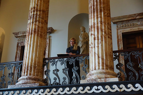 Triona sketching the Marble Hall at Holk