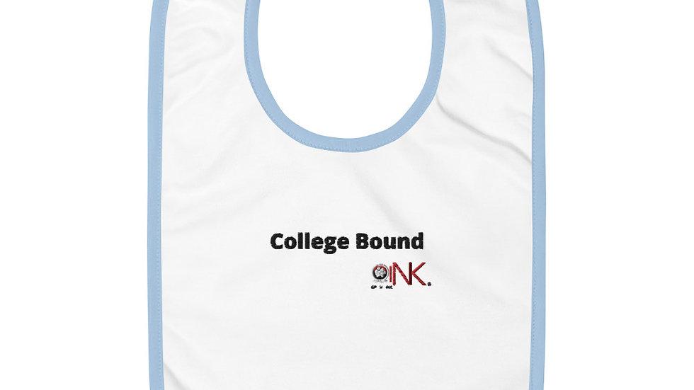 """""""College Bound"""" Embroidered Baby Bib"""