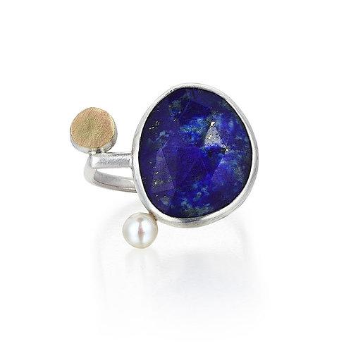 Lapis Lazuli 18K Gold Silver Ring