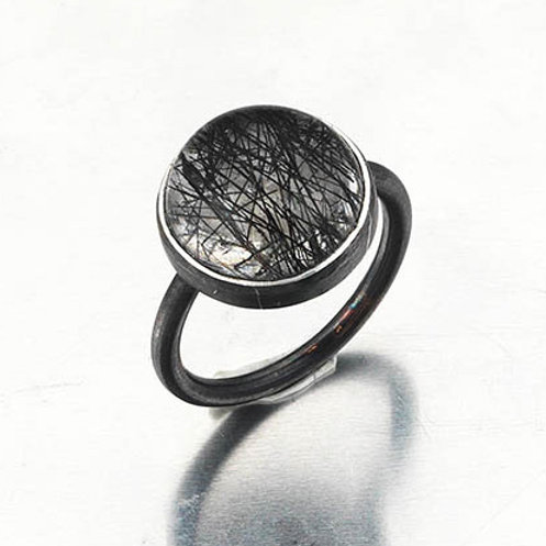 Tourmalinated Quartz and Silver Ring