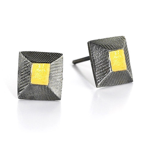 Facet Sterling Silver Earrings with 24K Gold Keum Boo