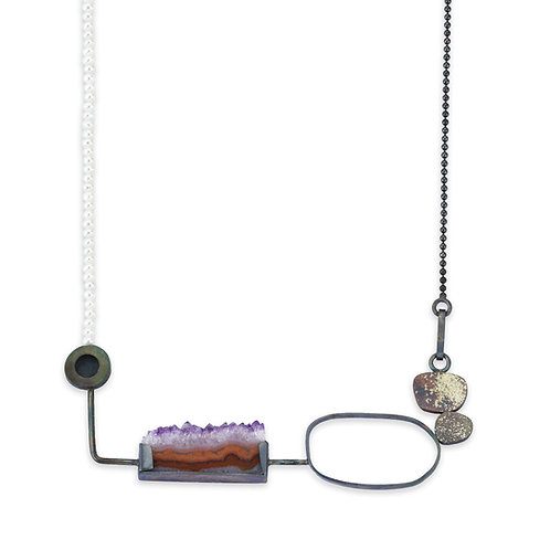 Landscape Necklace with Amethyst and Pearls