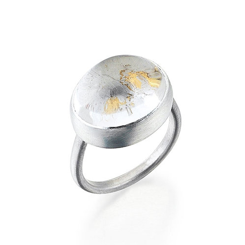 Crystal Love Sterling Silver Ring with Clear Quartz