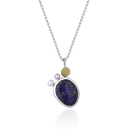Lapis Lazuli Pendant, Pearls and 18K gold