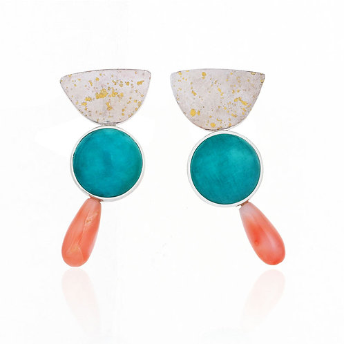Arlequin Earrings with Amazonite, 24K Gold and Coral