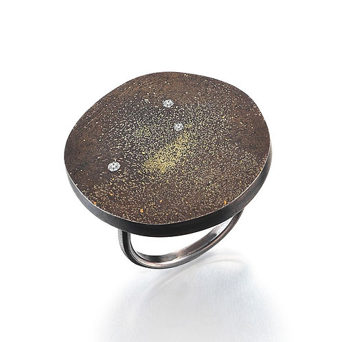 Cosmos Round Silver Ring with 3 Diamonds