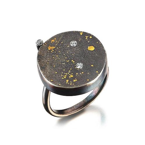Petite Cosmos Ring with 3 Diamonds