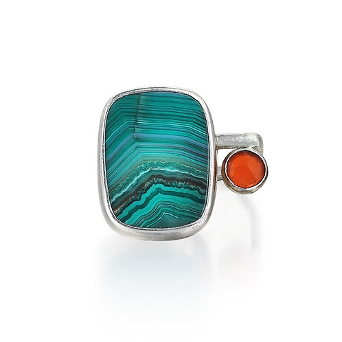 Sterling Silver and Green Agate Ring with Carnelian
