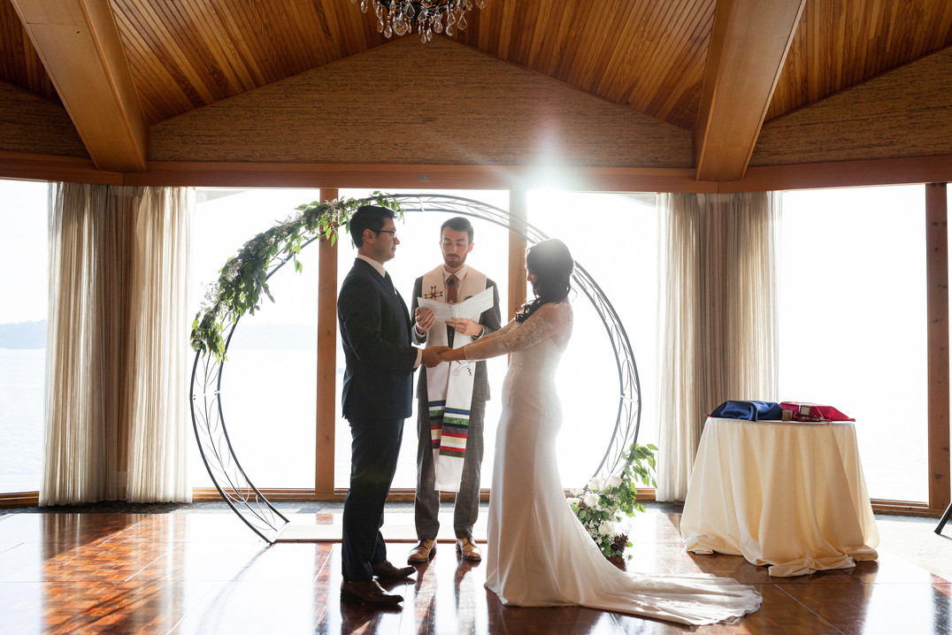Beautiful ceremony at the Edgewater Hotel in Seattle, WA