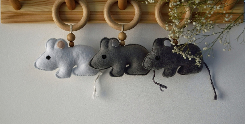 """Teether with felt toy """" Mouse """""""