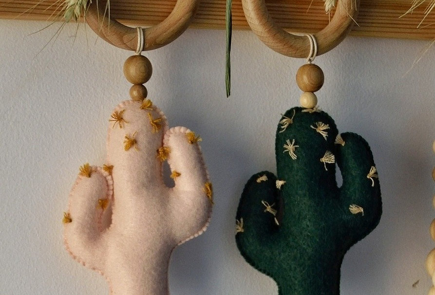 "Teether with felt toy "" Cactus """