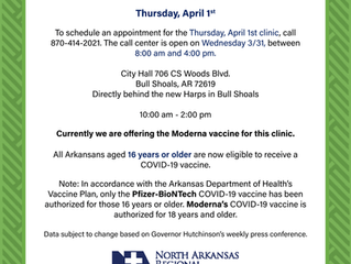 Upcoming Vaccine Clinics - Harrison & Bull Shoals