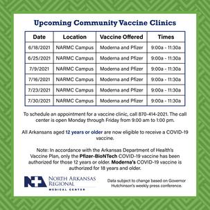 Upcoming Vaccine Clinics