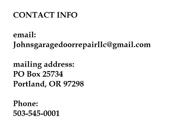 Customer help contacting contact info for Johns Garage Door Repair email