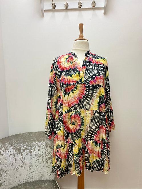 Black Tie Dye Tiered Tunic Dress