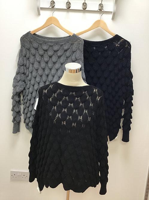Teardrop scallop edge knitted jumper