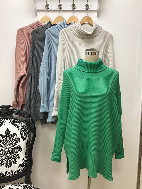 Ribbed batwing roll neck jumper