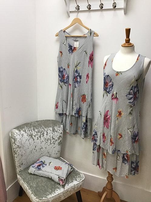 Grey Floral Layered Dress