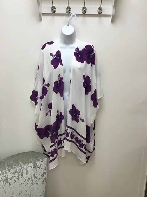 White & Purple Beach Wrap (Kimono)