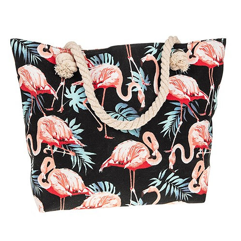 Flamingo leaves tote bag black