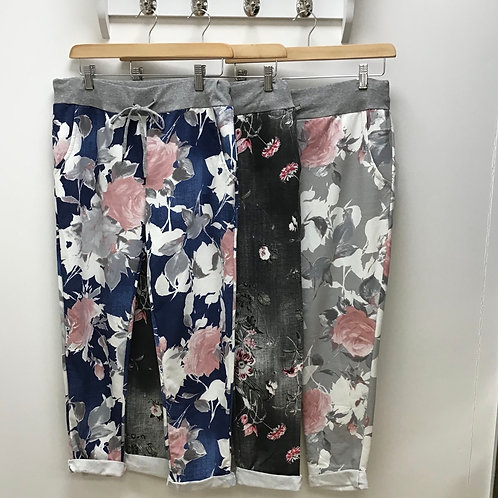 Italian Floral Print Cotton Trousers
