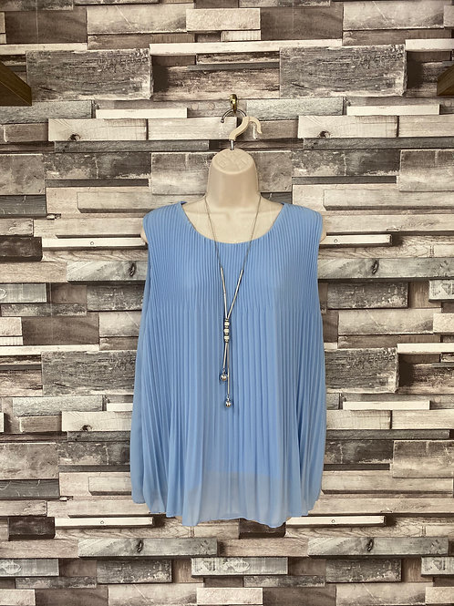 Blue chiffon top with necklace