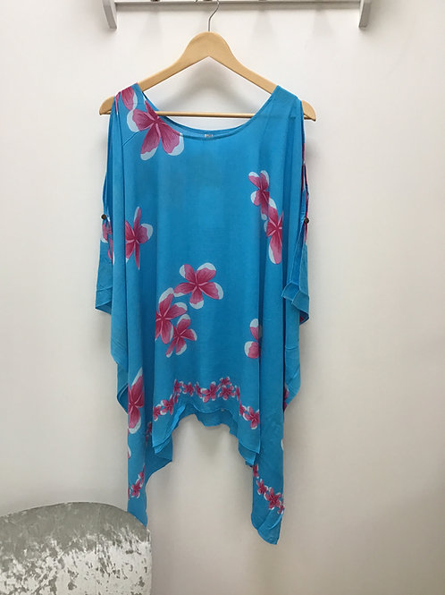 Turquoise Cold Shoulder Top/ Beach Poncho