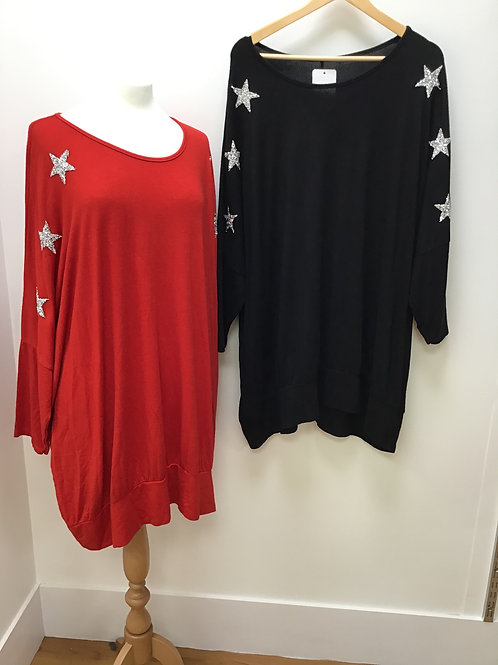 Super Soft Long Sleeve Sweatshirt With Glitter Stars