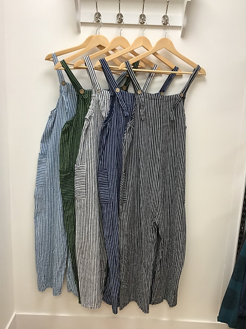 Striped Cotton Dungarees