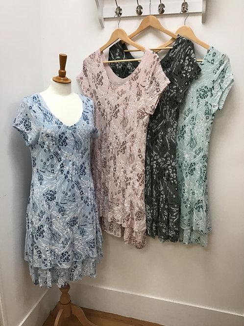 Cotton Mix Floral/Animal Print Layered Dress